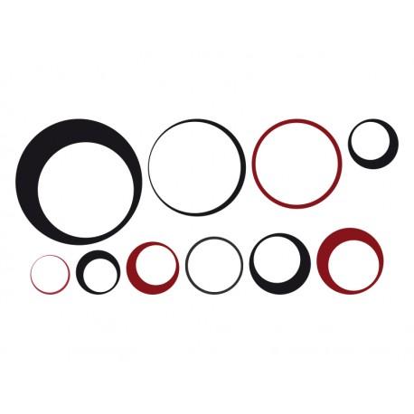 Vintage Circular composición rojo y negro adhesivo decorativo ambiente
