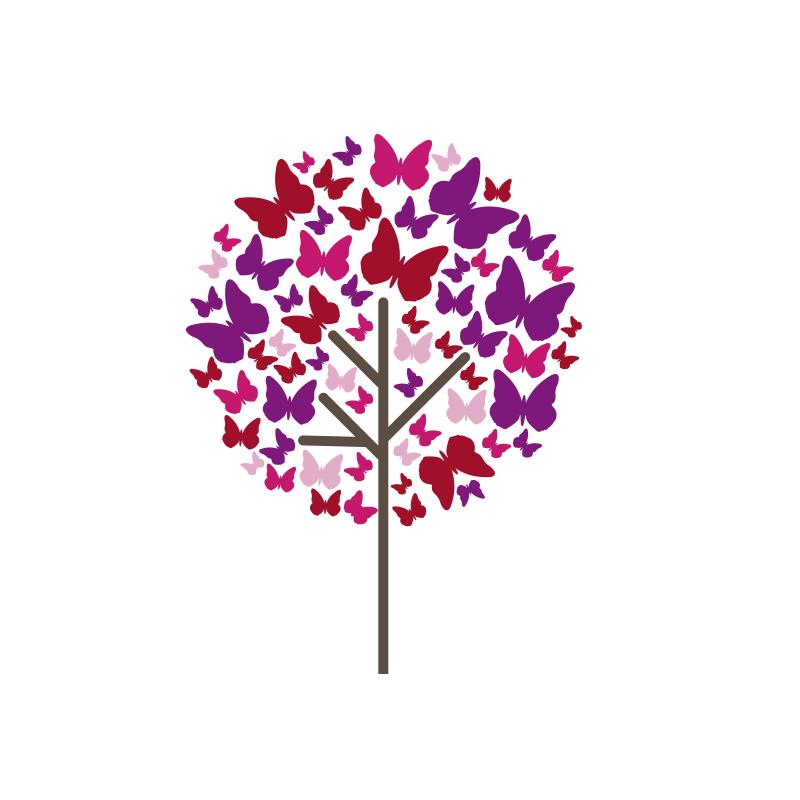 Vinilo arbol de mariposas for Arbol vinilo