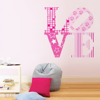 Love Pink Stamp adhesivo decorativo ambiente
