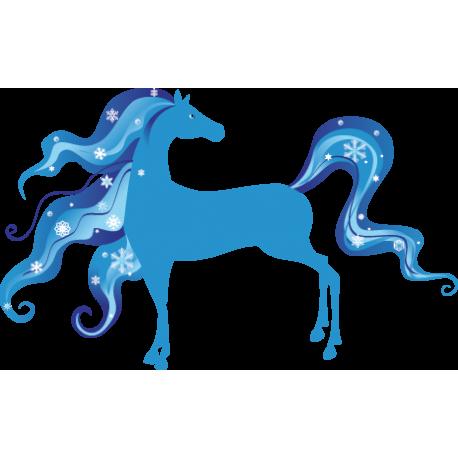 vinilo decorativo Caballo Fantasía Azul