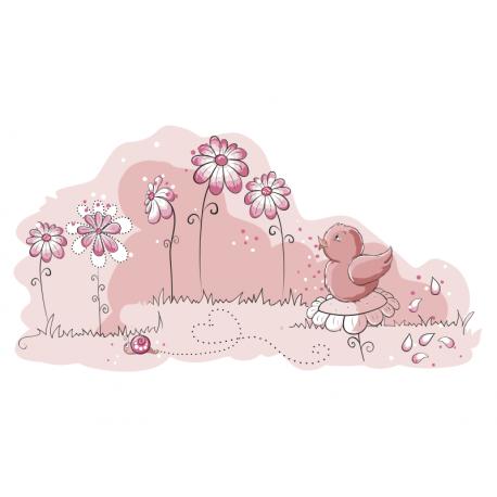 adhesivo decorativo Pajarito Floral Rosa (Colección Osito Tendedero)
