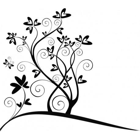 pegatina pared Corazones Flor