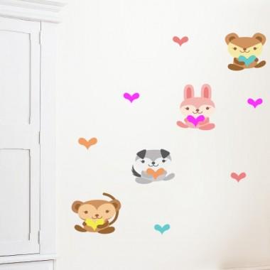 Animalitos Corazón adhesivo decorativo ambiente