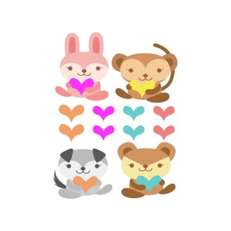 Animalitos Corazón decoración con vinilo