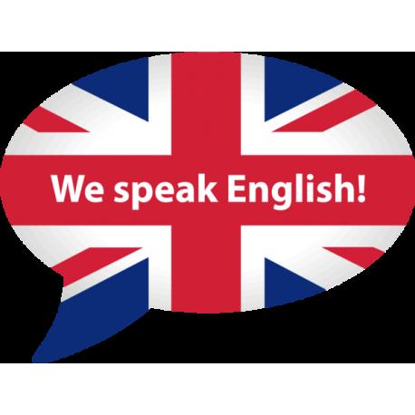 we speak english reposicionable