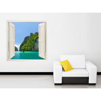 Ventana adhesiva paisaje mar exótico