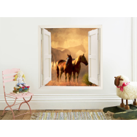 Vinilo ventana simulada con paisaje caballos