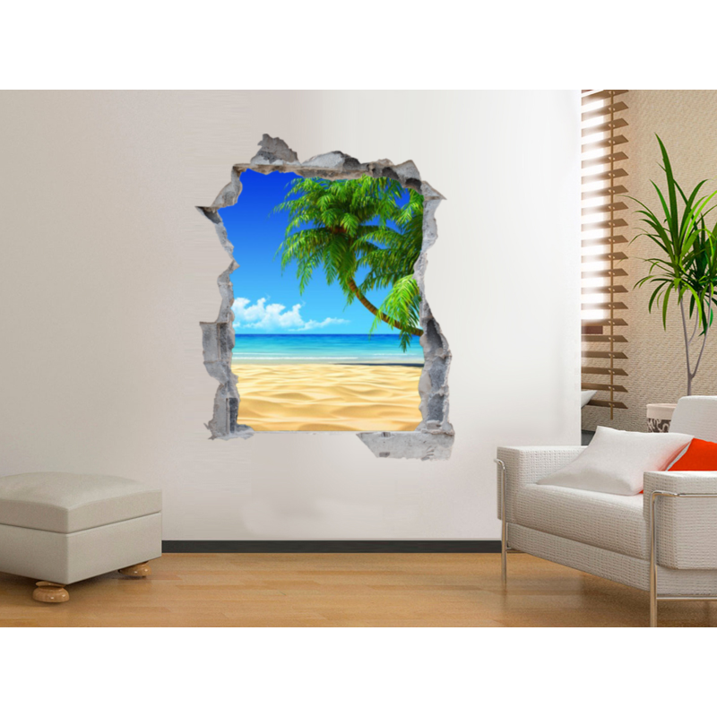 Vinilo pared rota con vistas a playa - Vinilo de pared ...