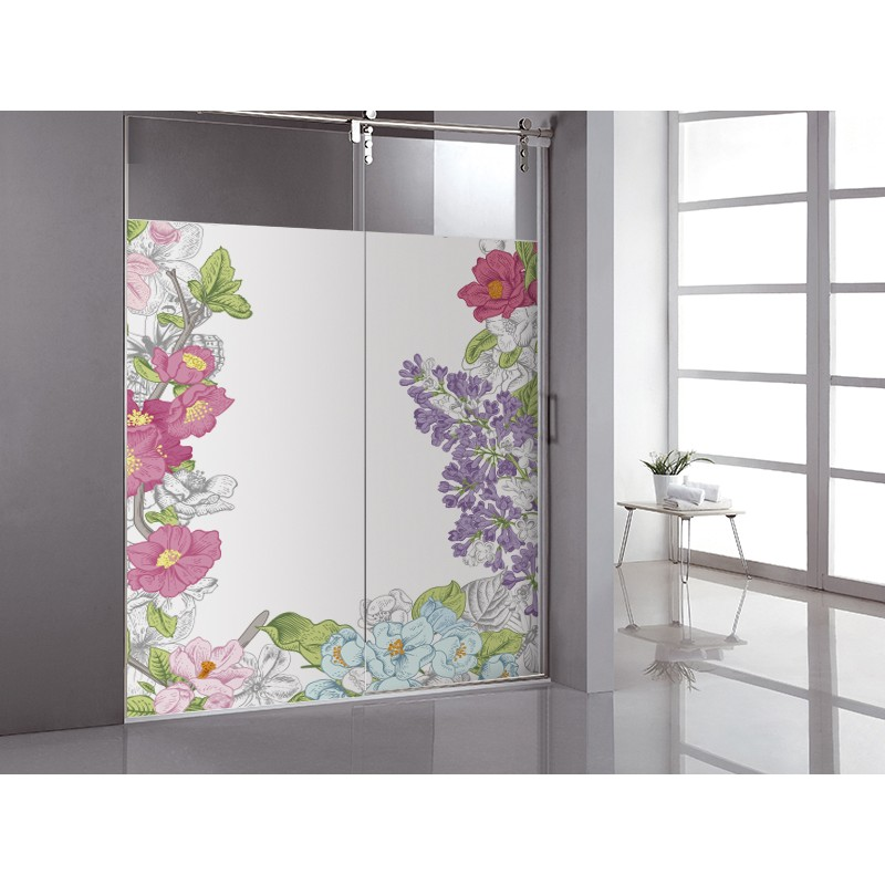 Vinilo transl cido impreso marco floral - Vinilos para duchas ...