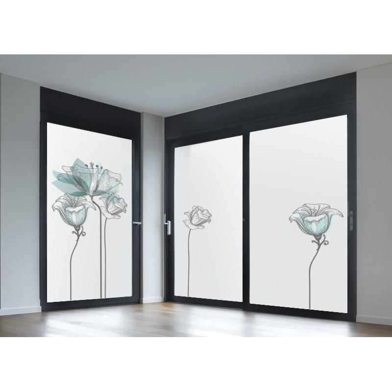 Vinilo transl cido impreso floral azul - Vinilos decorativos para cristales ...