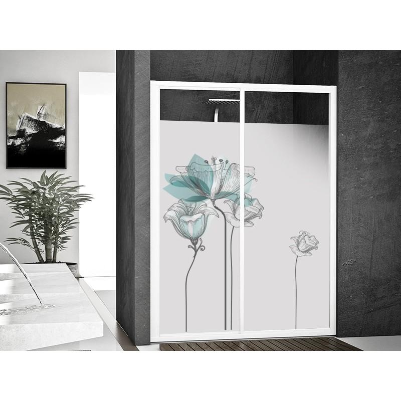 Vinilo transl cido impreso floral azul - Cristales para puertas de salon ...