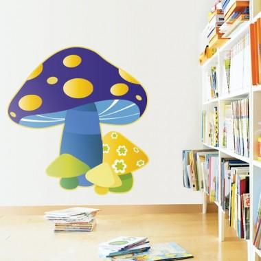 Hongos Azul imagen vinilo decorativo