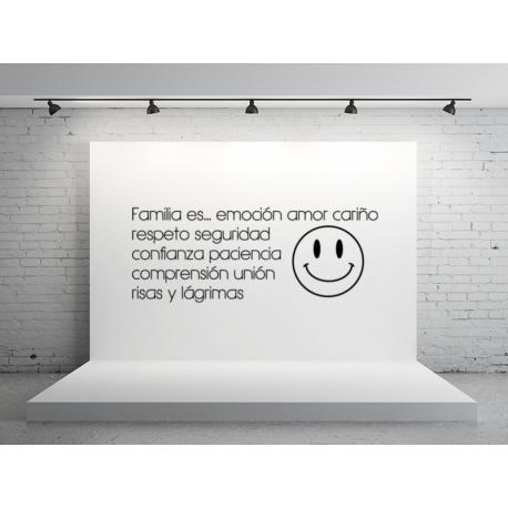 frase en vinilo para pared con sonrisa