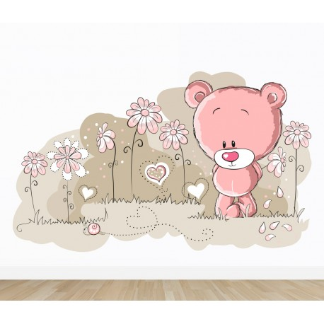 vinilo infantil osito y caracol rosa
