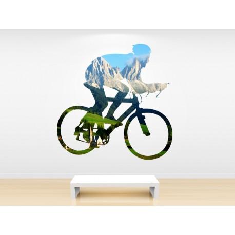 vinilo ciclismo con silueta y paisaje