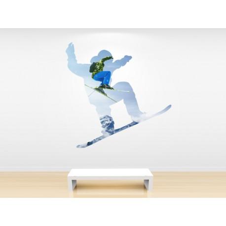 vinilo snowboard con silueta y paisaje