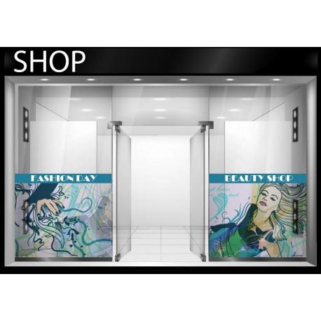 pegatina pared Girl Shop Escaparate