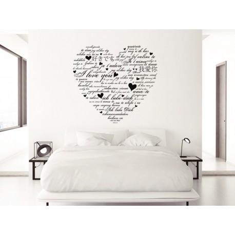 vinilo decorativo corazon texto