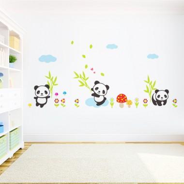 vinilo infantil osos panda en ambiente