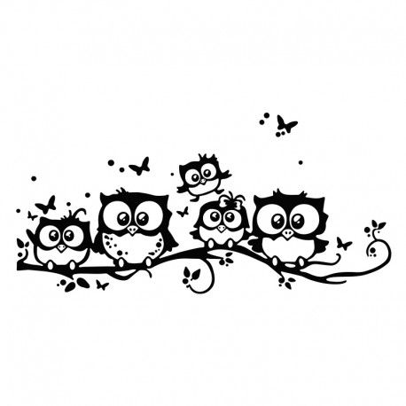 vinilo infantil búhos familia