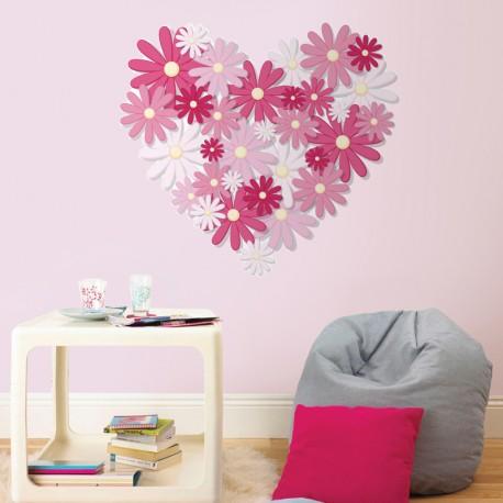 vinilo corazón flores