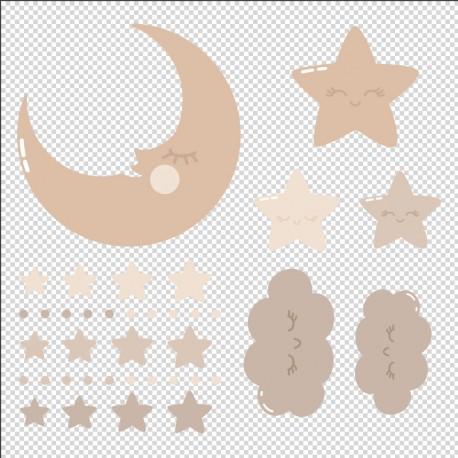 vinilo infantil lunas y estrellas maquillaje