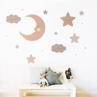 Luna y estrellas sonrientes