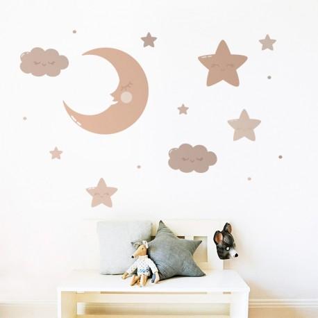 vinilo infantil lunas y estrellas kit