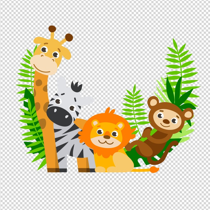 Vinilo animales selva divertidos - Imagenes animales infantiles ...