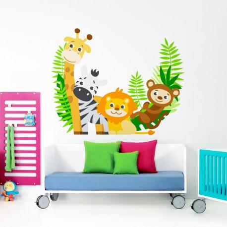 vinilo infantil animales selva color