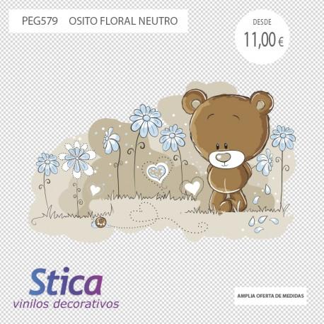 vinilo oso floral neutro en venta