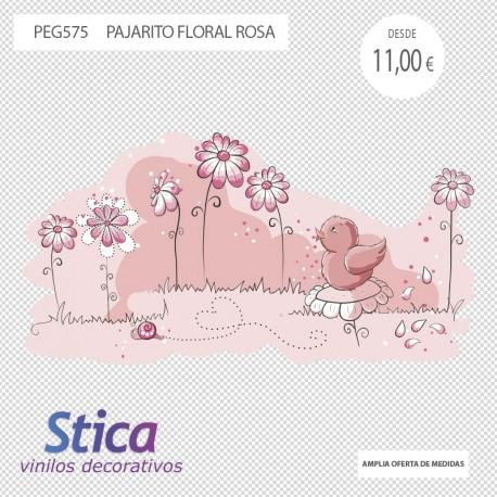 vinilo pajarito floral rosa