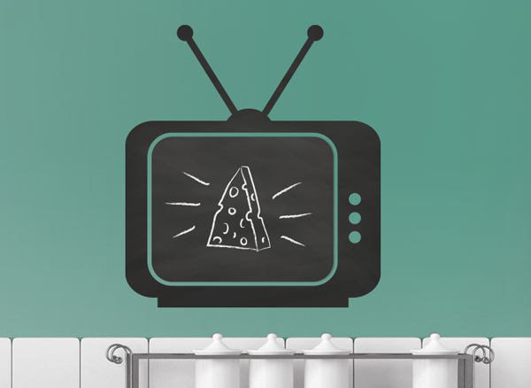 pizarra negra con forma de televisor
