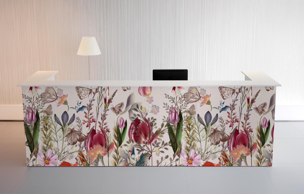 mostrador con vinilo imagen floral