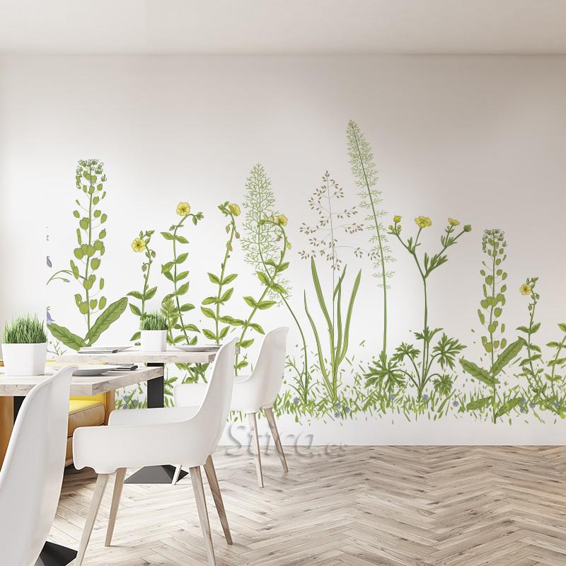 Vinilo transparente flores en pared