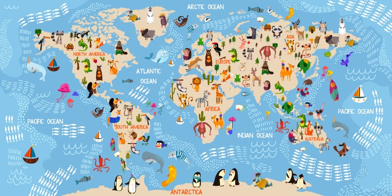 Mapa Del Mundo Infantil.Fotomural Infantil Mapa Mundo